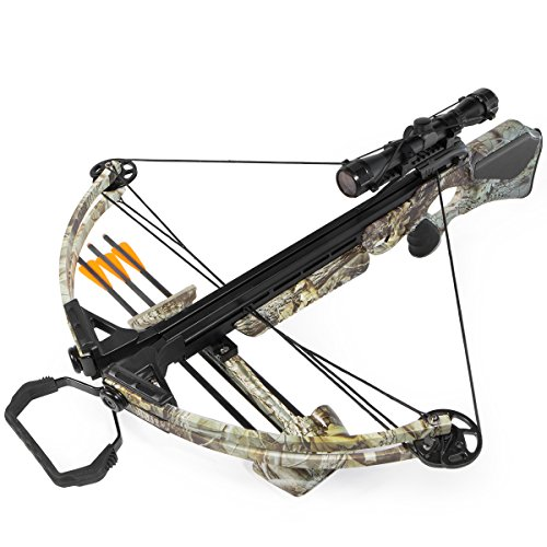 XtremepowerUS Crossbow 180 lbs 320 fps Hunting Equipment with Quiver and 3 pcs Arrows (180 Lb Hunting Crossbow)