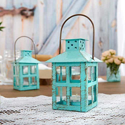 Kate Aspen Decorative Lantern, Vintage Metal Tealight Candle Lanterns, Centerpiece for Wedding Table, Accent Piece & Party Favor, Turquoise - 6 Sets Aspen Metal Bedroom Set
