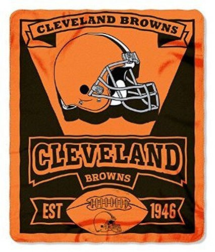 Officially Licensed NFL Cleveland Browns Marque Printed Fleece Throw Blanket, 50
