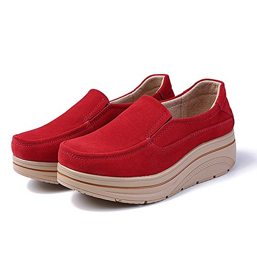 Women Wedge Platform Wide Red Slip Shoes On Top Aon Moccasins Suede Karen Comfort Low Loafers 4x7w1Wq