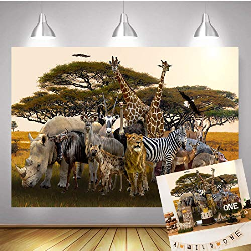 TJ Jungle Animal Backdrop Summer Tropical Desert African Forest Safari Scenic Party Photography Background Boys Baby Shower Birthday Party Decor Banner Photo Studio Booth Props 7x5ft Vinyl]()