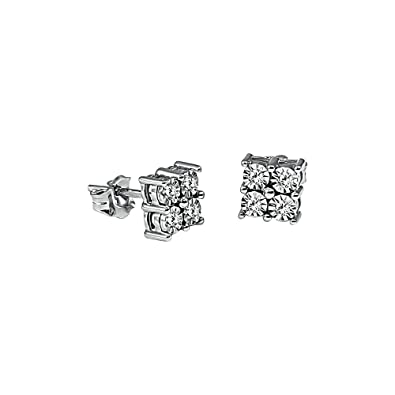Kiara Jewellery 9ct White Gold Hallmarked Stud Earrings Each With 4