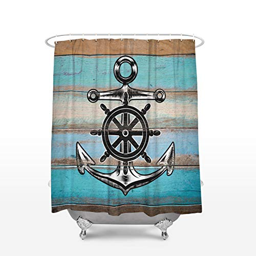 Cloud Dream Home Nautical Anchor Rustic Wood Shower Curtain,Waterproof and Mildewproof Polyester Fabric Bath Curtain Design 66x72-Inch ()