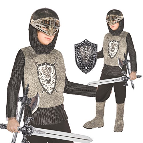 Kids Knight Costume Childrens Medieval Armour Dress Up Outfit - Medium (Age 6-8) -
