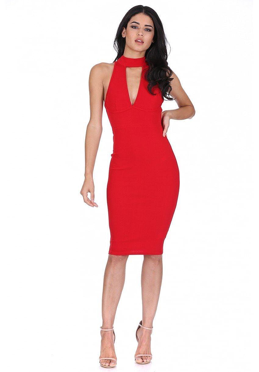 9bc41edc5eafb AX Paris Women s Choker Neck Midi Dress at Amazon Women s Clothing store