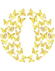 96 Pieces 3D Butterfly Wall Sticker 3 Size 8 Style Removable Metallic Butterfly Wall Decal Hollow Butterfly Decorations Stickers Gold Butterfly Mural Decoration Art for Bedroom Nursery Wedding Decor