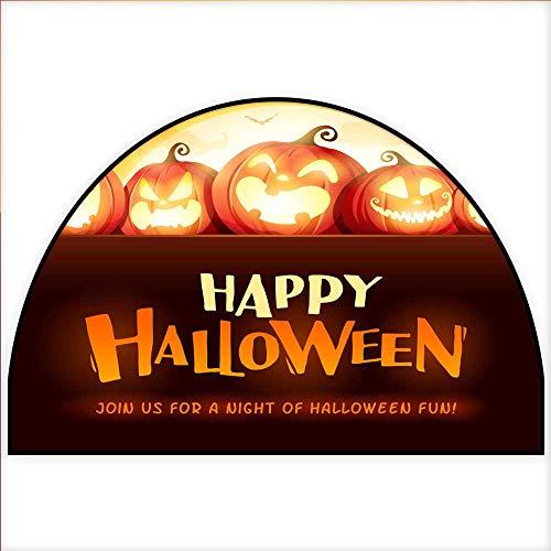 Semicircle Doormat Happy Halloween Jack O Lantern Party Halloween Pumpkin Patch in The Moonlight H 47.2