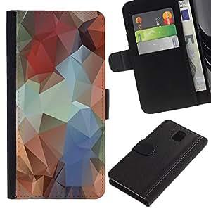LECELL--Cuero de la tarjeta la carpeta del tirón Smartphone Slots Protección Holder For Samsung Galaxy Note 3 III -- Polígono Colores --