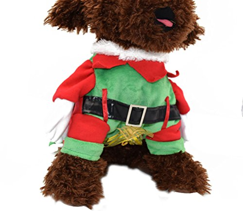 Freerun Pet Costumn Puppy Dog Clothes with Cap & Cloak Standing Warm Clothes - No Chest Flower, -