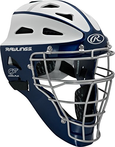 Rawlings Sporting Goods Adult Softball Protective Hockey Style Catcher's Helmet, Navy/White
