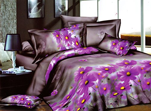 Swanson Beddings Purple Daisy 3-Piece Bedding Set: Duvet Cover and Pillowcases (Queen) Daisy Wedding Cover