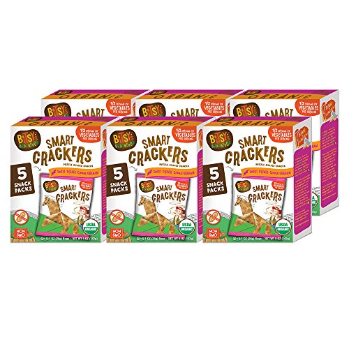 Bitsys Multi-Pack Organic Smart Crackers Cinnamon Sweet Potato Graham 5 Count Snackpacks (Pack of 6) Healthy Organic Nut-Free Snacks with Fruits and Vegetables for Kids