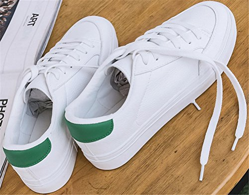 Zapatillas De Deporte De Moda De Satuki Para Mujer, Mocasín Plano De Pleather Con Cordones Zapatos De Deporte Ocasionales De Color Blanco Y Verde