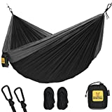 Automotive : Hammock for Camping Single & Double Hammocks - Top Rated Best Quality Gear For The Outdoors Backpacking Survival or Travel - Portable Lightweight Parachute Nylon SO Black & Grey