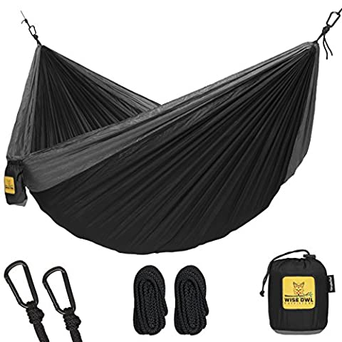Hammock for Camping Single & Double Hammocks - Top Rated Best Quality Gear For The Outdoors Backpacking Survival or Travel - Portable Lightweight Parachute Nylon SO Black & - Outdoor Gear