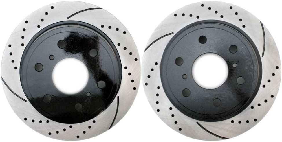 Prime Choice Auto Parts PR65135LR Rear Set 2 Drilled Slotted Performance Brake Rotors 6 Stud