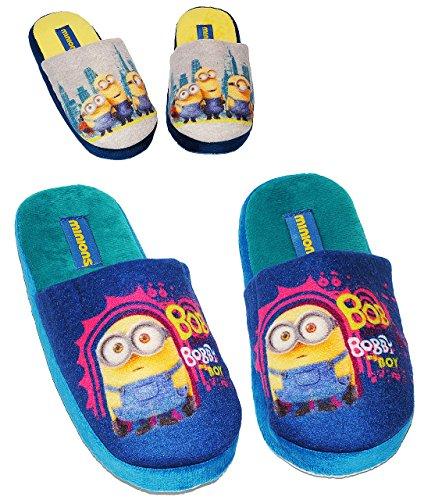 """Pantoffeln/ Hausschuhe - Gr. 31 - 32 - Minions - """" Ich einfach unverbesserlich """" - rutschfeste Schuhe Schuh / Hausschuh mit Profilsohle - für Kinder - Mädchen & Jungen / Plüsch - Superweich - Slipper"""