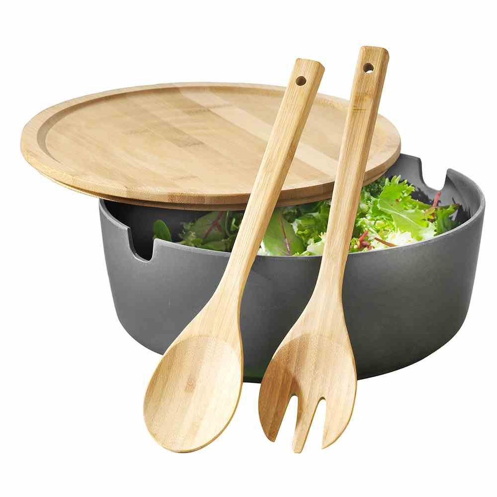 Esmeyer 303-050 serving salad bowl Brooklyn with lid and salad cutlery, bamboo plastic mixture, anthracite, 27 cm x 27 cm x 5 cm.