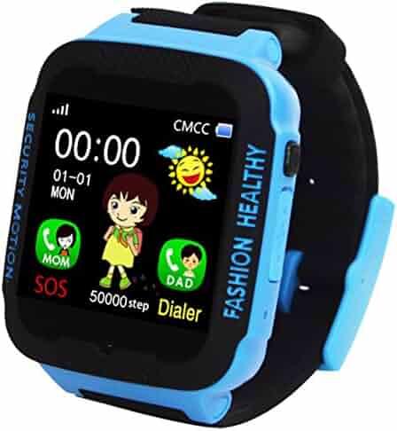 Kids Smart Watch Phone GPS Tracker Anti-Lost SOS Remote Wrist Watches for Children Boys Girls Blue