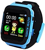 Kids Smart Watch Phone GPS Tracker Anti-Lost SOS Remote Wrist Watches for Children Boys Girls Blue