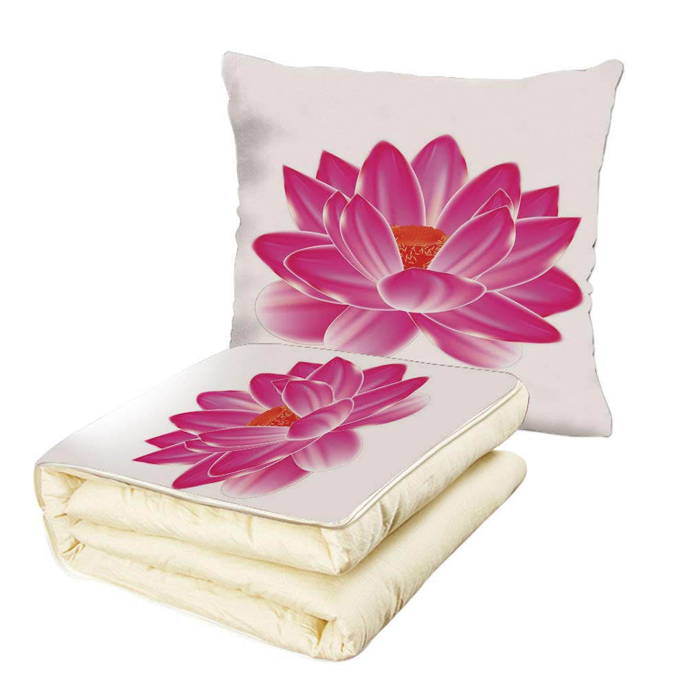 Quilt Dual-Use Pillow Lotus Vibrant Lotus Flower Pattern Spa Zen Yoga Asian Balance Energy Lifestyle Artsy Image Multifunctional Air-Conditioning Quilt Magenta Red