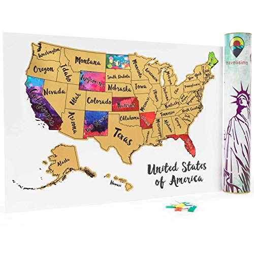 (Travelisimo Scratch off Map of the United States - 12x17 US Watercolor Poster for Road Trip - USA Travel Accessories - With 10 Flags for Next Visited States)