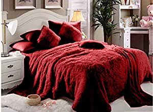 Luxe Soft Faux Fur Maroon Double King Set Of 6-piece Solid Bedding Set