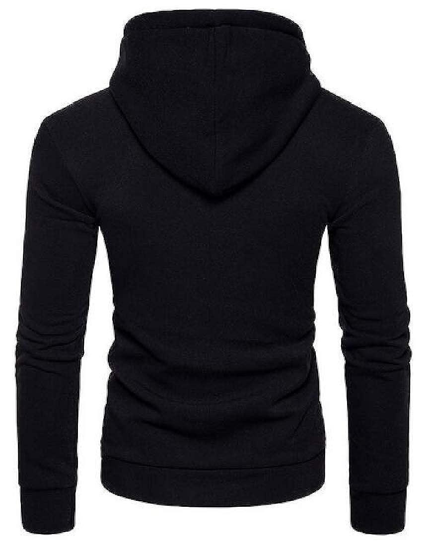 Generic Mens Long Sleeve Pure Color Half Zipper Closure Closure Hooded Sweater