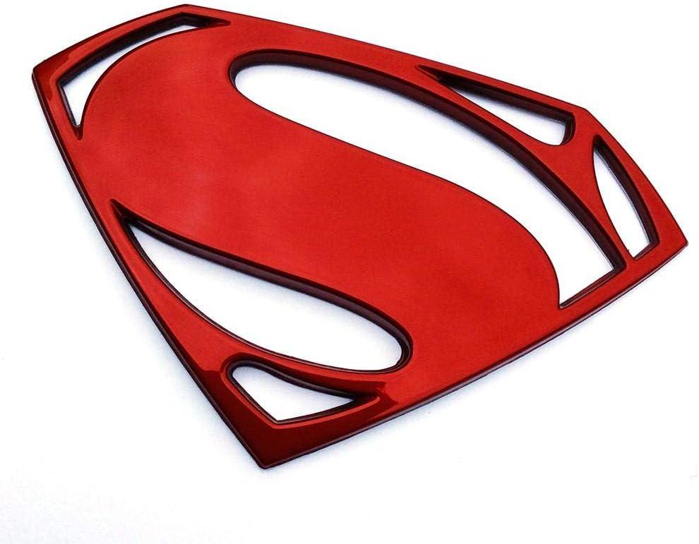 Amazon Com Fan Emblems Batman V Superman Dawn Of Justice 3d Car Badge Superman Logo Red Chrome Automotive