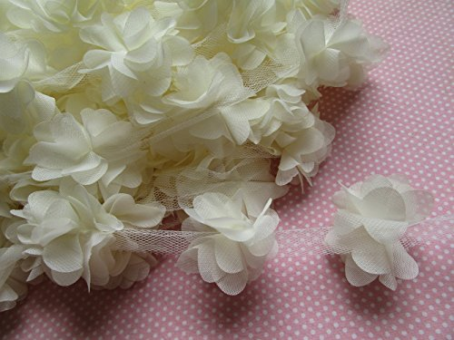 YYCRAFT 5 Yards 2.5 3D Chiffon Flower Lace Trims Bridal Bouquets Cluster Flower DIY Sewing(Ivory)