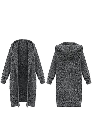 Pull Chaud Vogstyle ouvert Poches Capuche Style manches Gilet Gris Femme Avec Lourd Cardigan 2 longues Manteau Tricot wPHxXPq4R