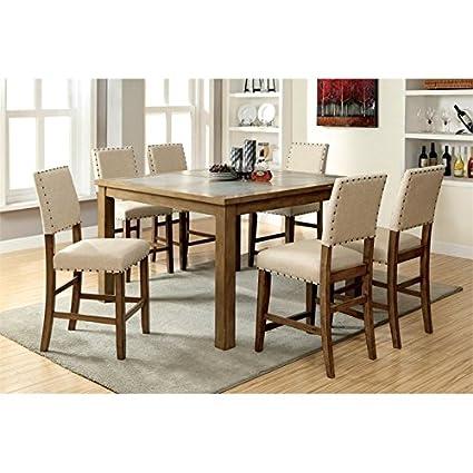 7 piece counter height dining set black furniture of america spier piece counter height dining set amazoncom