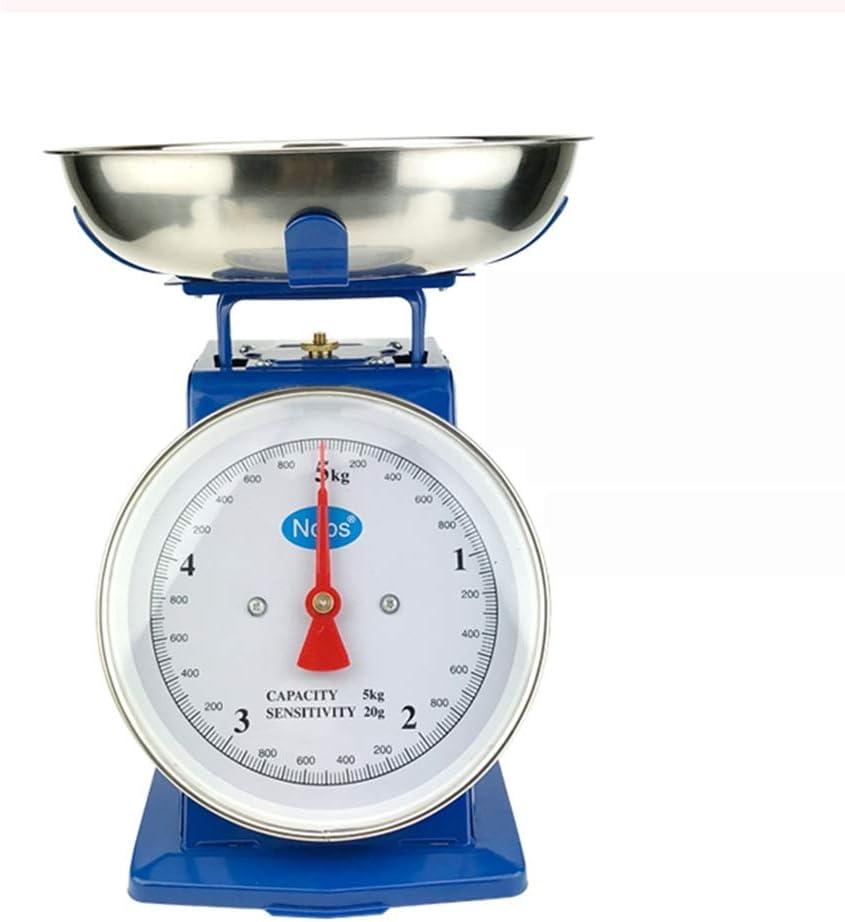 WXYXG 1 kg 3 kg 5 kg Escalas mecánicas de Hierro de Metal Balanzas de Cocina domésticas con Bandeja sin baterías (Size : 5KG)
