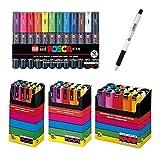 Uni-posca Paint Marker Pen BUNDLE SET , Mitsubishi Pencil Uni Posca Poster Colour Marking Pens Extra Fine Point 12 Colours , Fine 15 , Medium 15 , Bold 15 - Japan Import