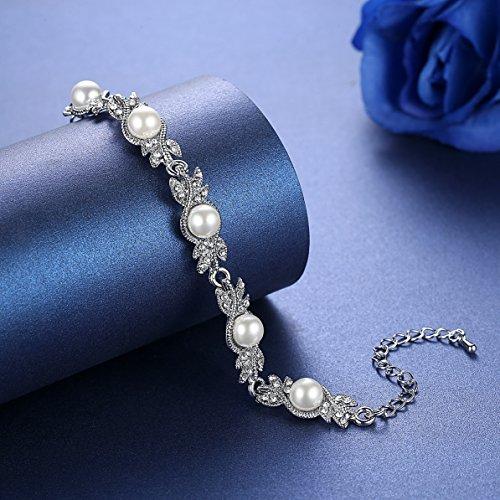 mecresh Women's Simulated Pearl Jewelery Set for Wedding Clear Austrian Crystal(1 Set Earring,1PCS Bracelet) by mecresh (Image #2)