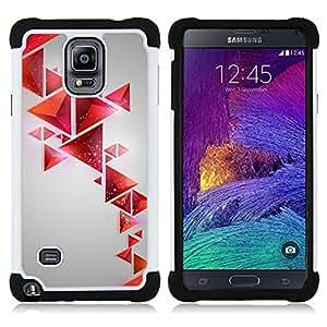 - polygon red gray shapes pattern/ H??brido 3in1 Deluxe Impreso duro Soft Alto Impacto caja de la armadura Defender - SHIMIN CAO - For Samsung Galaxy Note 4 SM-N910 N910