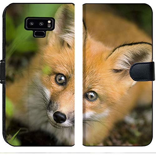 Luxlady Samsung Galaxy Note 9 Flip Fabric Wallet Case Wild red Fox from National Park Jacques Cartier Quebec Canada Image ID 5132648