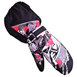 Triwonder Waterproof Mittens for 3-12 Years Old Kids Outdoor Warmer Snow Mitts Winter Ski Gloves