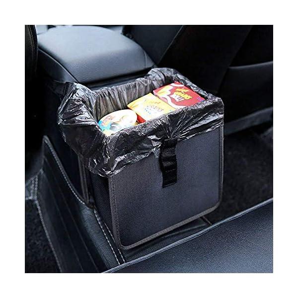 51kQmDhNKTL PowerTiger Auto Mülleimer, KFZ Abfalleimer Wasserdicht Abfallbehälter Auslaufsicher Autositztasche für Müll, Schwarz 6…
