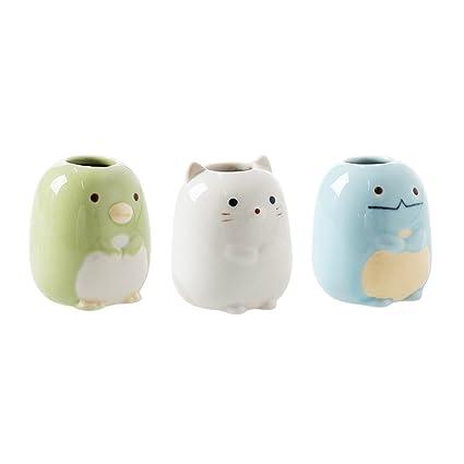 kxtffeect Pack de 3 Mini soporte para cepillos de dientes de cerámica, cute Animal imagen