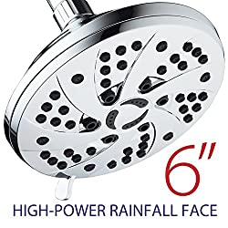 High Pressure 6-inch 6-setting Premium Rain Shower Head By Aquadance For The Ultimate Shower Spa Experience! Officially Independently Tested To Meet Strict Us Quality & Performance Standards!