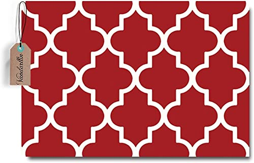 Moroccan Trellis Pattern Doormat Non Slip Entrance Floor Rugs Indoor Outdoor Front Door Bathroom Mats 23.6 x15.7
