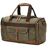 BLUBOON Overnight Bag Canvas Genuine Leather 20.5''/10''/12.2'' Vintage Travel Duffel Bags (Army Green)