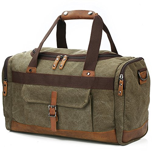 3d13339f1 BLUBOON Overnight Bag Canvas Genuine Leather 20.5