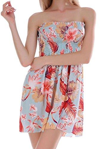 Jaycargogo Imprimé Floral Casual Femmes Bustier Plissé Tube De Soirée Patineur Flowy Robe 3