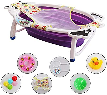 FOME Non-Slip Portable Folding Baby Bath Tub Foldable Shower Basin Collapsible Baby Bathtub Baby Shower Basin with Temperature Sensing for Infants Kids Aged 0-6 Years Old Collapsible Bathing Tub