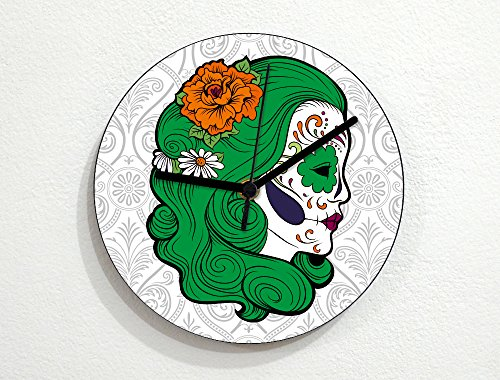 La Calavera Catrina Halloween Costume (Sugarskulls - Calavera Catrina - Green Hair - Day Of The Dead - Dia De Los Muertos - Mexican Carnival Holiday - Novelty Gift - Custom Name Wall Clock)
