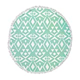 KESS InHouse Pom Graphic Design Ancient Tribe Seafoam Round Beach Towel Blanket