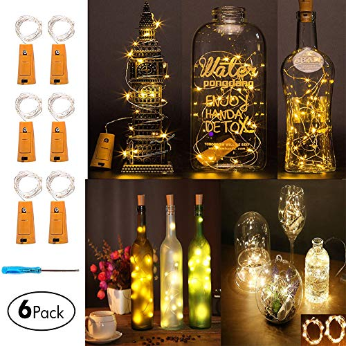 Led Cork Light Wine Bottle Starry Fairy Lights String Lights Battery Operated String Light with 15 Micro Led DIY for Bar Wine Bottle,Bedroom,Parties,Wedding Decor(6 Packs 75cm/2.5ft Warm White) ()