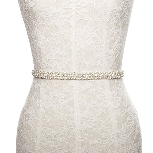 White Pearl Thin - Rhinestone pearls thin wedding accessories sash belt white for bride bridesmaid